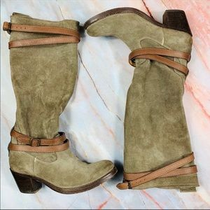 Frye Jane Fatigue Suede Strappy Boots
